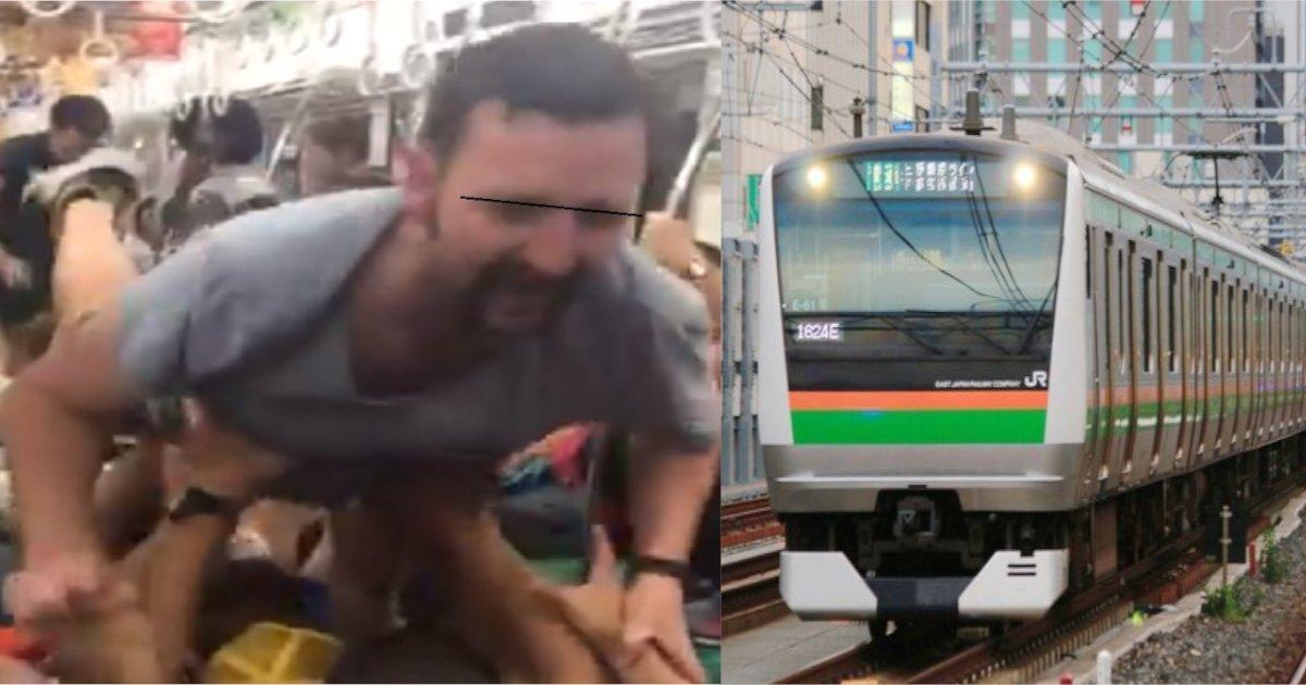 train 1.png?resize=1200,630 - ラグビーW杯の観戦後に電車内で大暴れする人達の動画に賛否 街中でのぼりをぶん投げる人も…