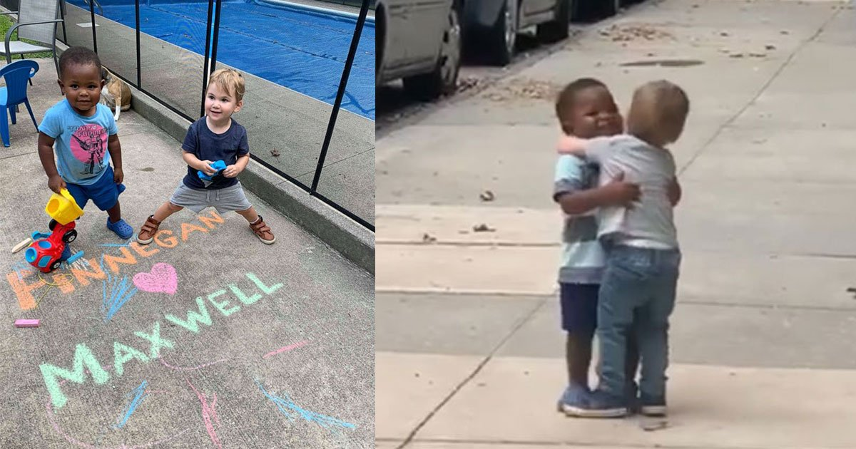 untitled 1 63.jpg?resize=1200,630 - Dad Captured Heartwarming Moment Of Toddler Best Friends Hugging Each Other As If They Haven't Seen Each Other In Years