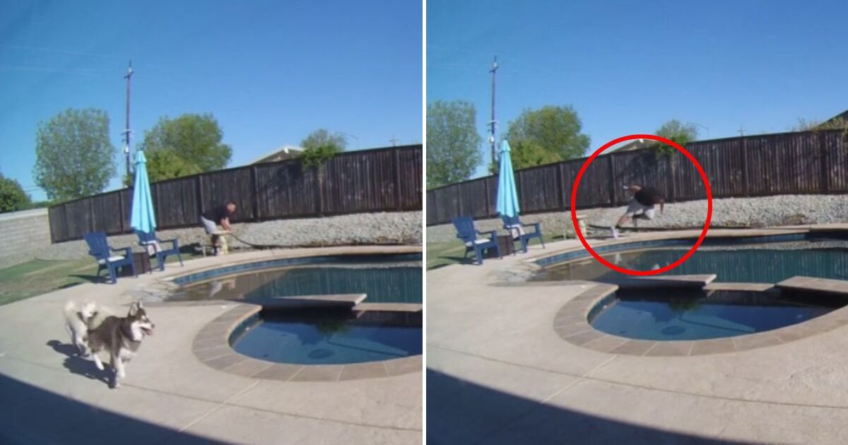 untitled design 78.png?resize=1200,630 - Man Caught On Camera Tripping And Falling Into A Swimming Pool
