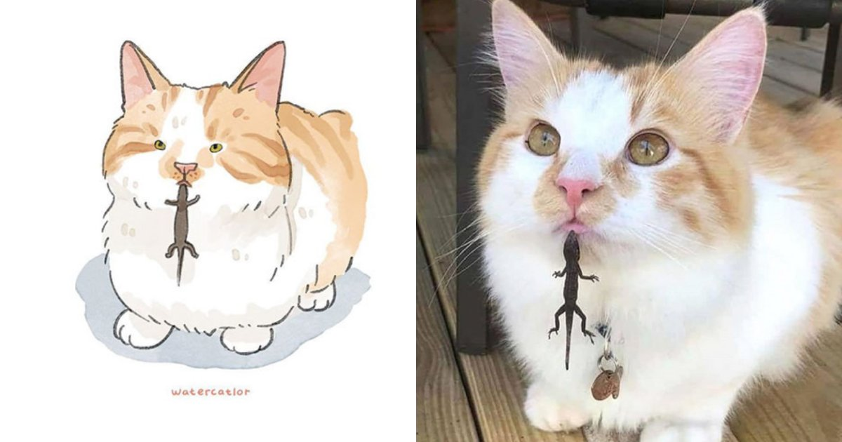 water color.png?resize=412,232 - 30 Of The Most Hilarious Internet-Famous Cat Pictures Get 'Watercolorized' And The Results Are Stunning