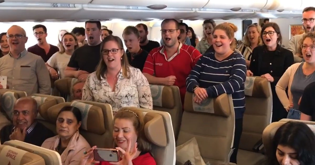 welsh choir national anthem plane.jpg?resize=1200,630 - Welsh Choir Sang National Anthem On Plane After Realizing They Would Miss The Six Nations Game