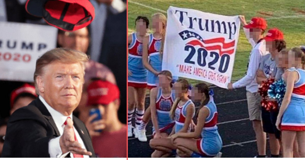 y5 11.png?resize=1200,630 - Cheerleaders Put on Probation for Posing With Trump 2020 Banner
