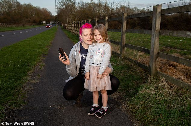 Valerie Hawkett, 33, pictured with her daughter Tegan, now five, were rescued with the help of What 3 Words