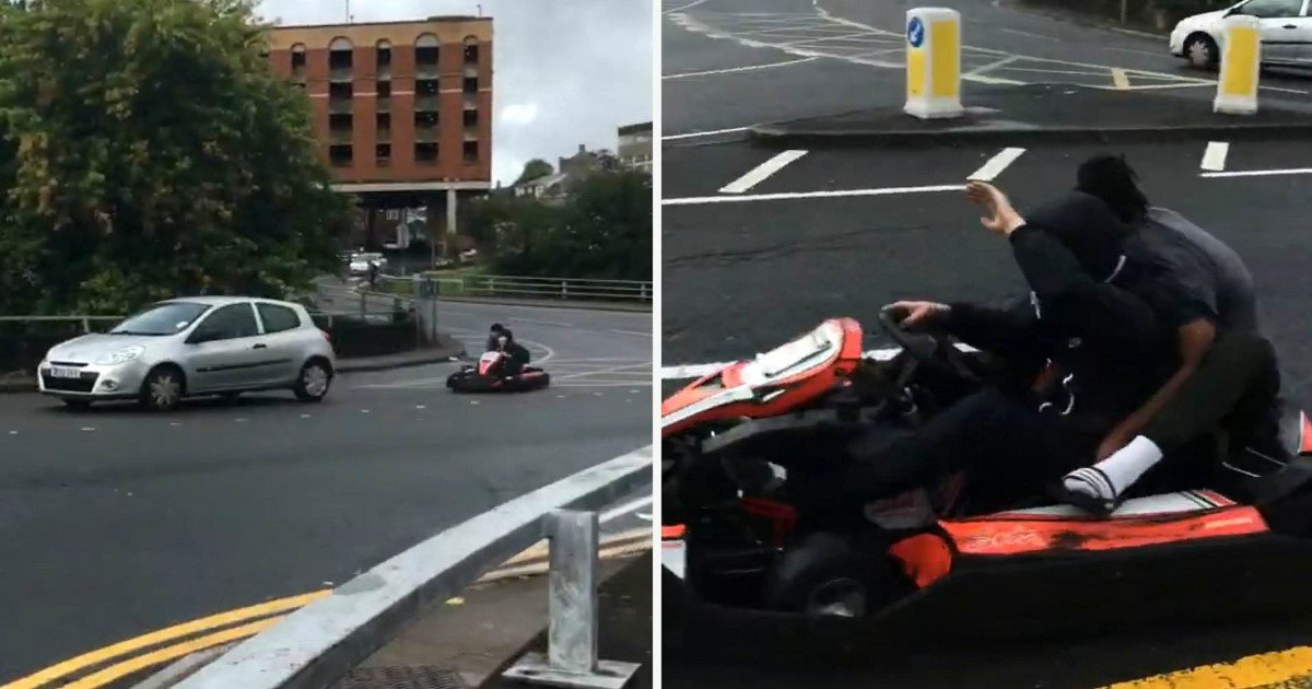 a 23.jpg?resize=1200,630 - Two Teenagers Spotted Racing Around In Go-Karts At A Busy Roundabout