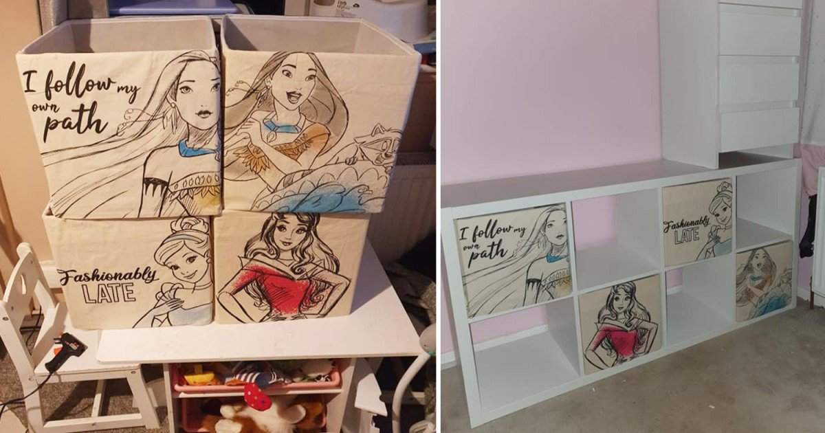 a 34.jpg?resize=412,232 - Mom Used $1 Disney Tote Bags To Give Her Daughter's Room A Princess-Theme