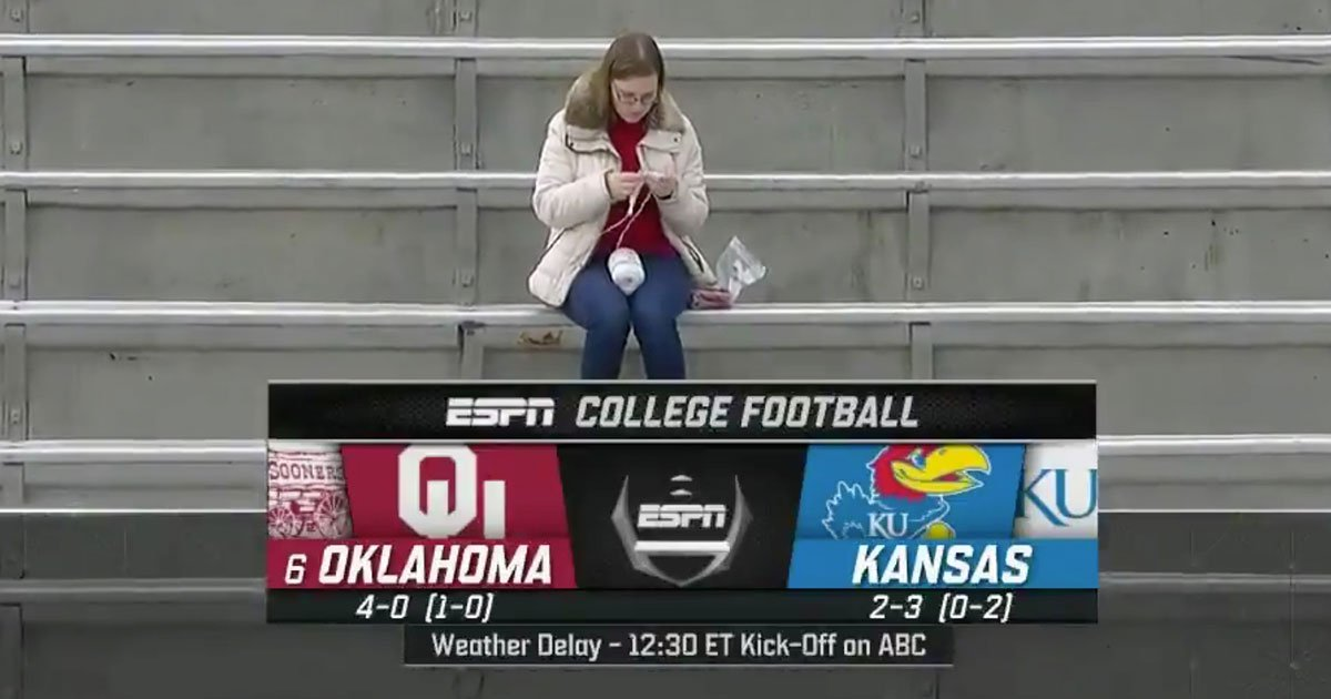 college student went viral after she was spotted crocheting in the stands during kansas football game.jpg?resize=412,232 - College Student Went Viral After She Was Spotted Crocheting In The Stands During A Football Game