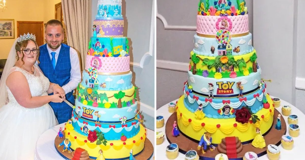 dsdgsdg.jpg?resize=1200,630 - Couple Tied Nuptial Knot With A Disney Themed Cake Consisting Of 10 Tiers