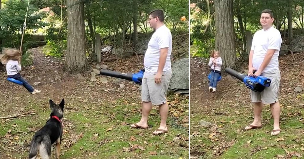 father leaf blower daughter rope swing.jpg?resize=1200,630 - Father Used A Leaf Blower To Push His Five-Year-Old Daughter On A Rope Swing