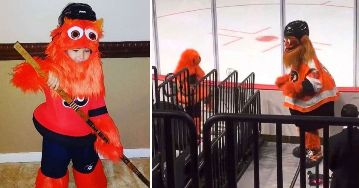 gritty mini me.jpg?resize=412,232 - 8-Year-Old Girl Dressed As Gritty Danced With The Real Gritty At A Hockey Game