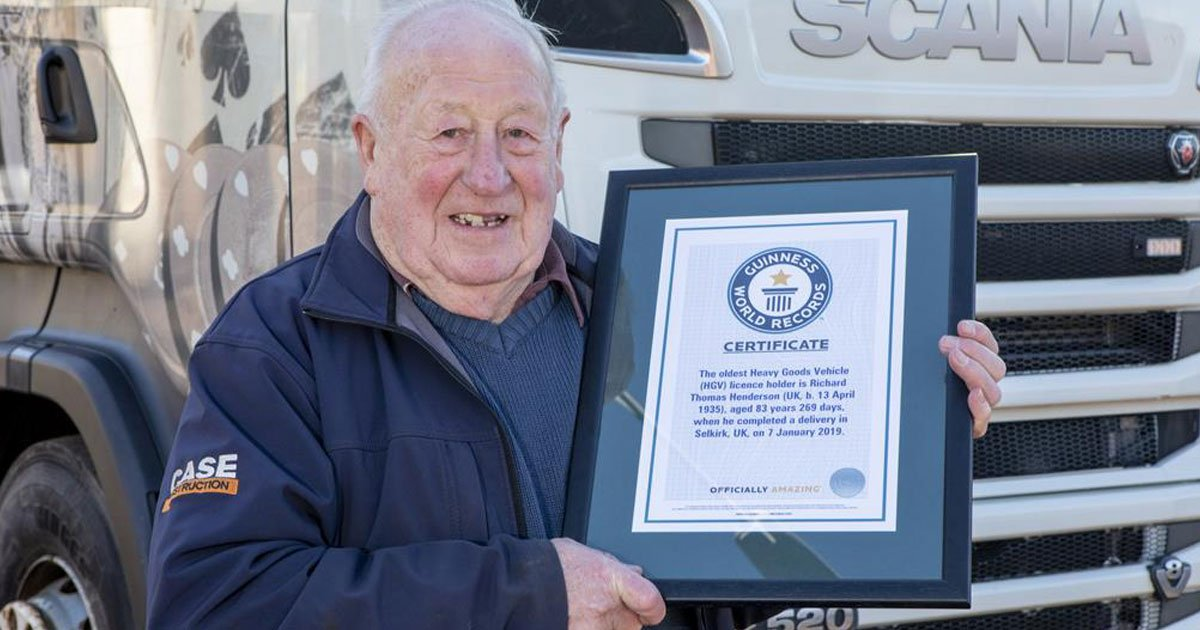 guinness world record oldest hgv driver.jpg?resize=412,232 - 83-Year-Old Named By The Guinness Book Of World Records As The World's Oldest HGV Driver