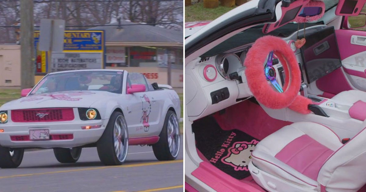 hello kitty mustang.jpg?resize=412,232 - Woman Transformed Plain White Ford Mustang Into A Hello Kitty Mustang By Herself