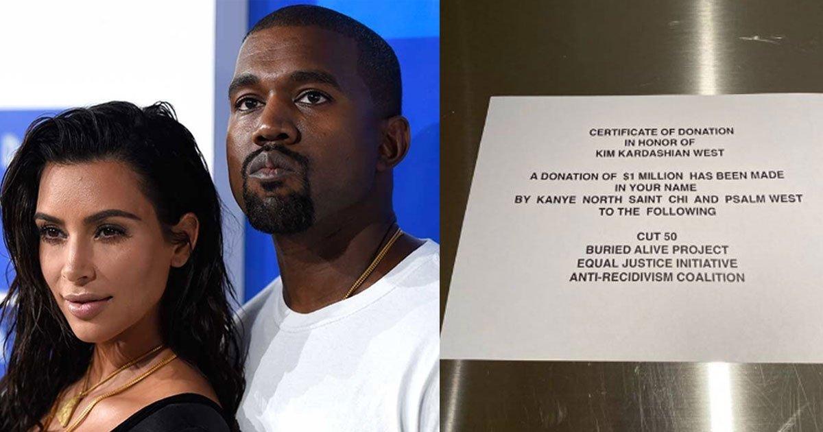 kanye west made 1 million donation to charity for kim kardashians birthday.jpg?resize=412,275 - Kanye a fait don d'un million de dollars au nom de Kim Kardashian à des œuvres caritatives pour son anniversaire