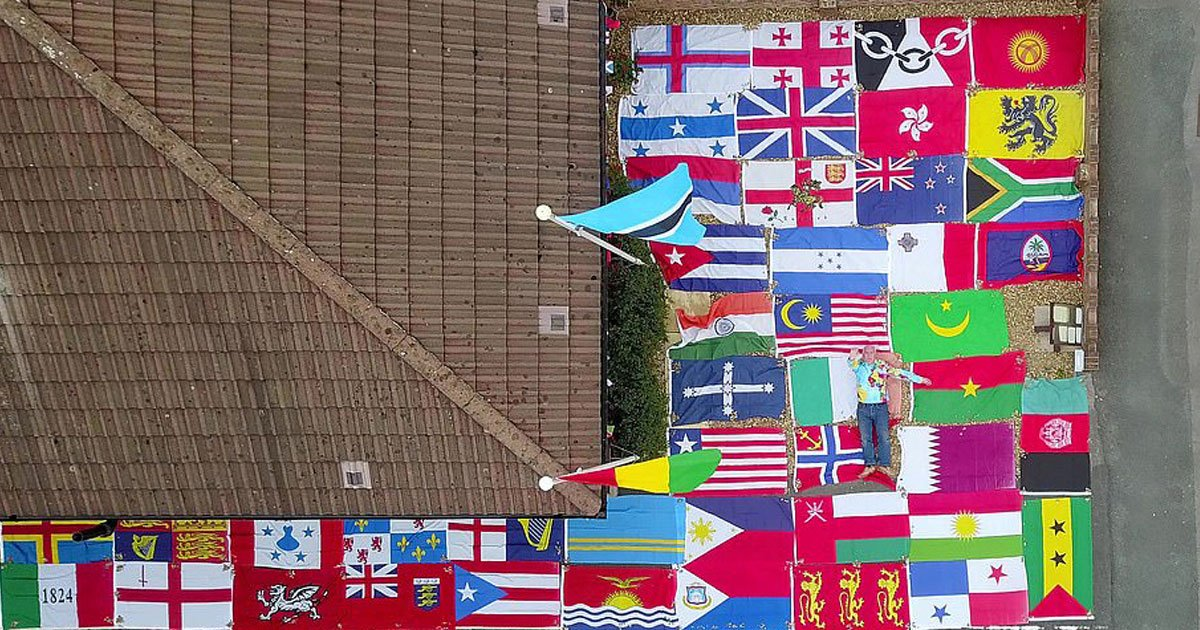 man has 680 flags.jpg?resize=1200,630 - 74-Year-Old Man - Who Has 680 Flags Including Flag Of Every Country And US State - Flies Different Flags Every Day With A Fun Fact