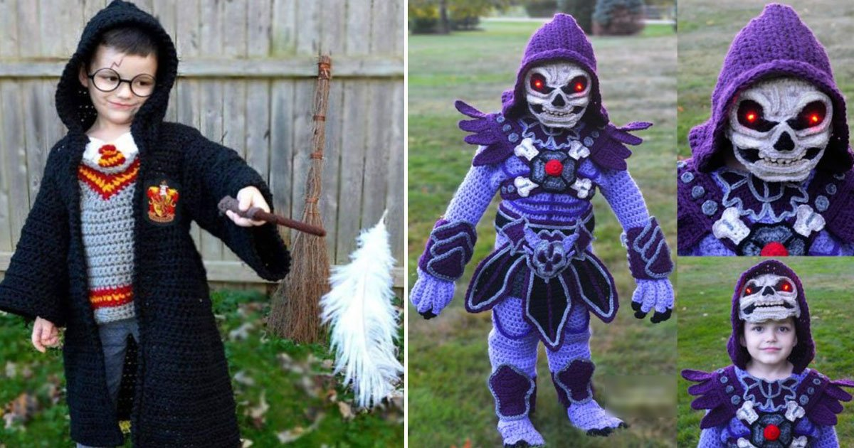 mother crotchet halloween costumes.jpg?resize=1200,630 - Mother Makes Incredible Halloween Crochet Costumes For Her Four Boys