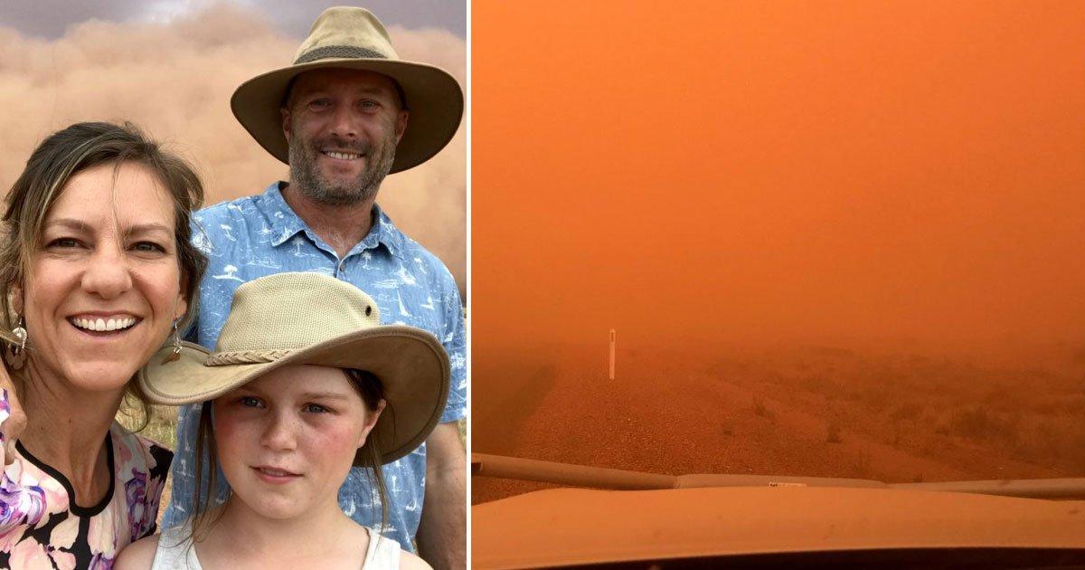 orange sand storm.jpg?resize=1200,630 - Family Witnessed An Incredible Orange Sand Storm