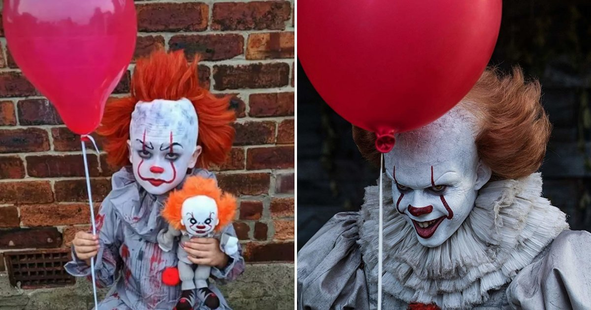 pennywise4.png?resize=412,232 - Mother Transformed Her Son Into Pennywise With Budget-Friendly Halloween Costume
