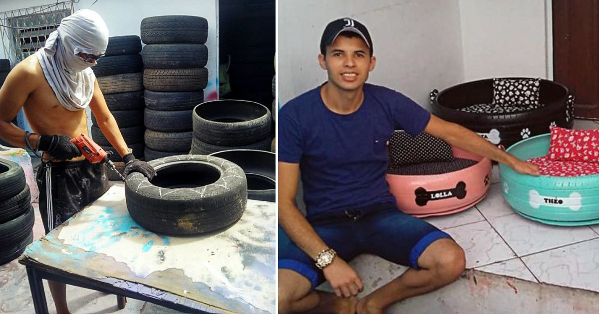 pet bed.png?resize=412,232 - Kind-Hearted Artist Transforms Old Tires Into Beds For Stray Animals