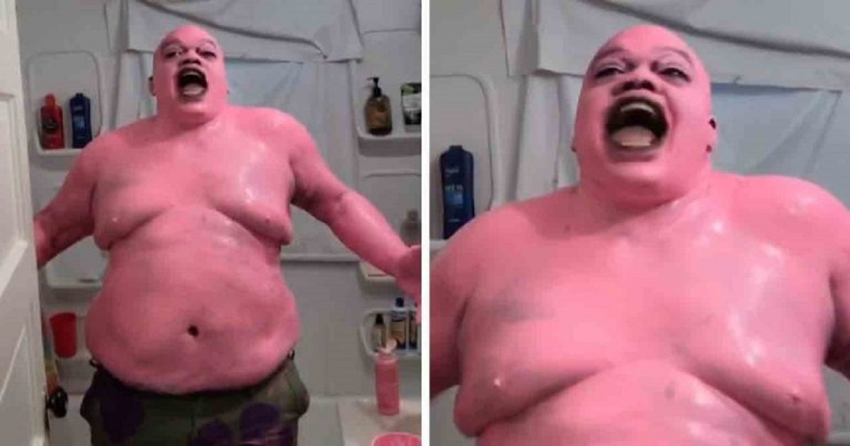s3 10.jpg?resize=1200,630 - A Man Painted Himself Pink To Become Real-Life Patrick Star To Send A Message About Pollution