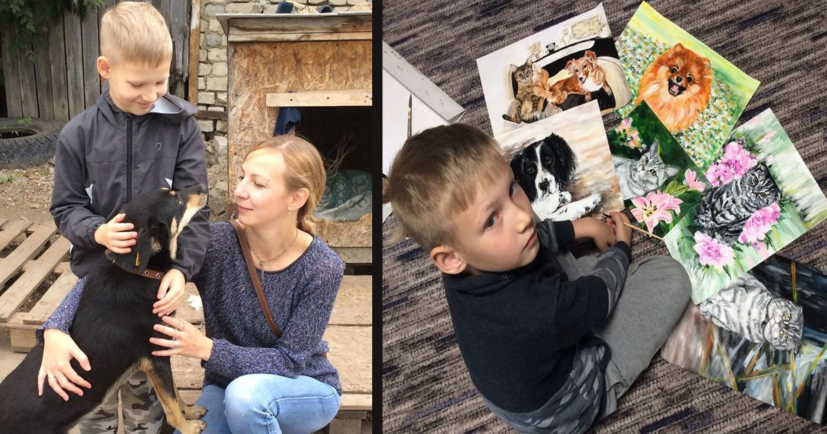 untitled 1 113.jpg?resize=412,232 - This 9-Year-Old Boy 'Sells' His Pet Paintings For Food And Supplies For The Animal Shelters
