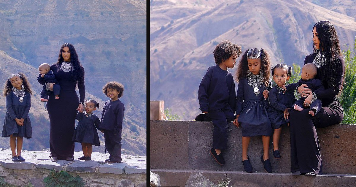 untitled 1 42.jpg?resize=412,232 - Kim Kardashian Posed Along With Her Four Children For A Photoshoot At The Historic Temple Of Garni