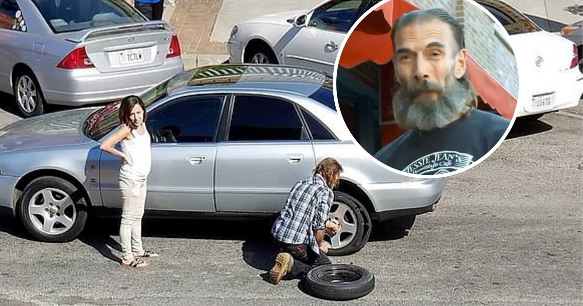 untitled design 63.png?resize=1200,630 - Homeless Man Caught On Camera Changing Woman's Flat Tire
