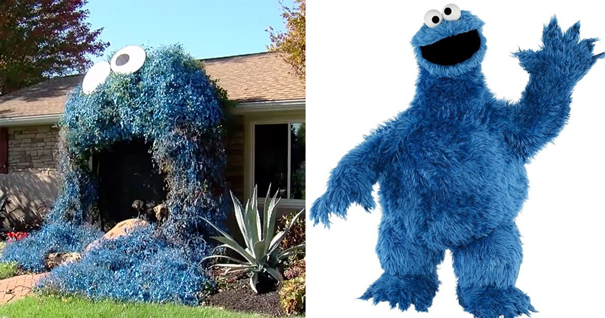 woman who is a huge fan of tv show sesame street turned her front door into cookie monster this halloween.jpg?resize=412,232 - A Huge Fan Of 'Sesame Street' Turned Her Front Door Into A Cookie Monster For Halloween