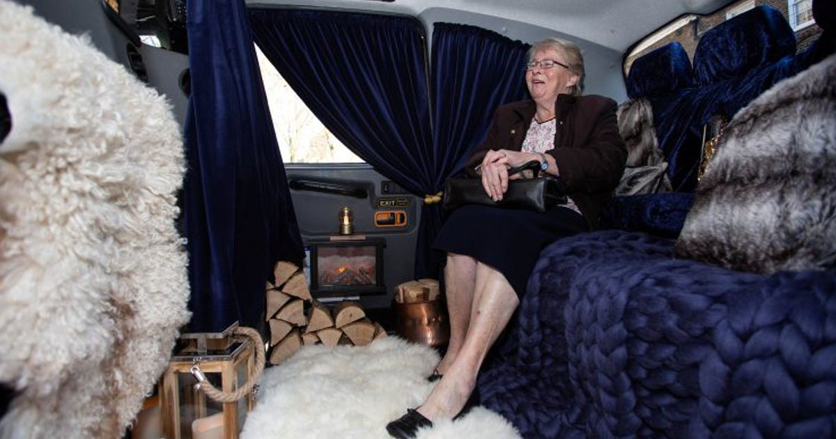 worlds cosiest taxi baxi.jpg?resize=412,232 - The World's Cosiest Taxi With Sheepskin Rugs, Complimentary Slippers, And A Fireplace