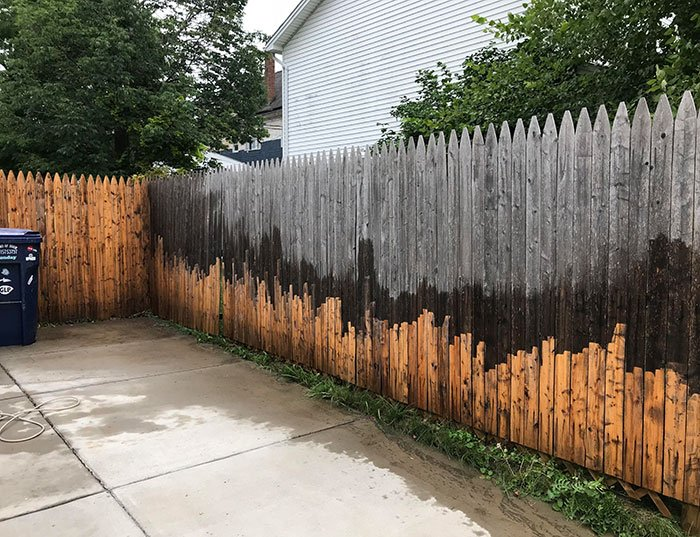 I Legitimately Thought Fences Just Faded Into That Grey Until I Borrowed Power Washer And 12 Hours Later...