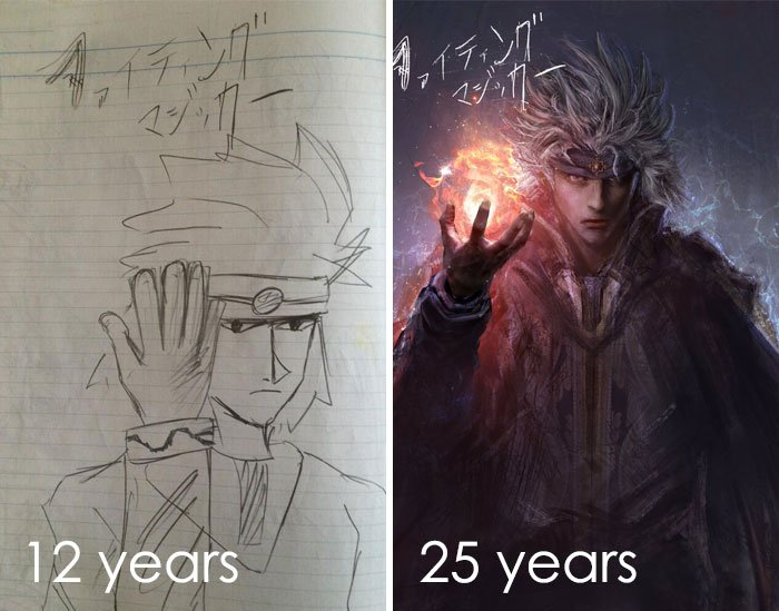 The First One I Drew When I Was Twelve Years Old. The Second Sheet Is A 25-Year-Old Guy Who Started Drawing