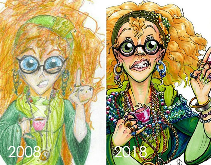 Nearly 10 Years Ago I Drew Sybill Trelawney From Harry Potter, And Now I've Done It Again. I Pushed Myself With The Details, And I'm So Proud