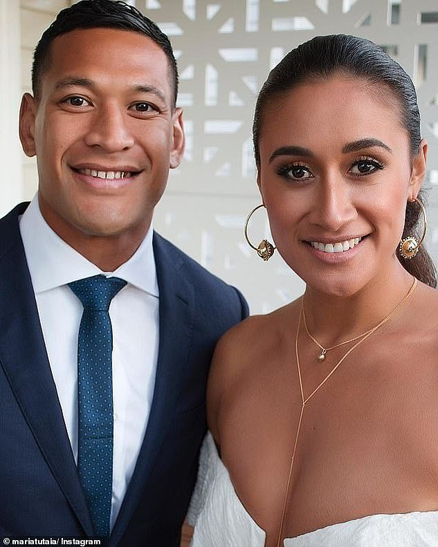 Folau (left with wife Maria) said same-sex marriage and abortion were