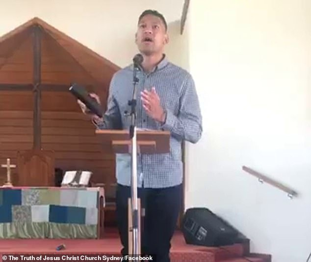 Footage (above) shows Israel Folau suggesting same-sex marriage and abortion are to blame for Australia