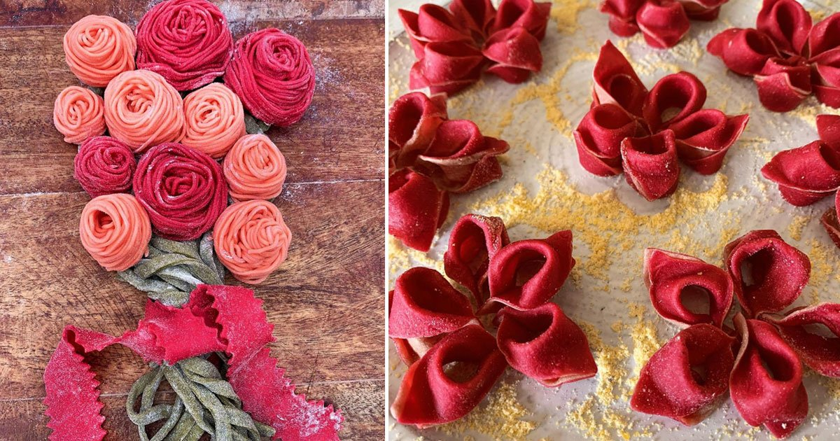 flower patterned pasta cook.jpg?resize=412,232 - 54-Year-Old Self-Taught Cook Creates Flower Patterned Pasta