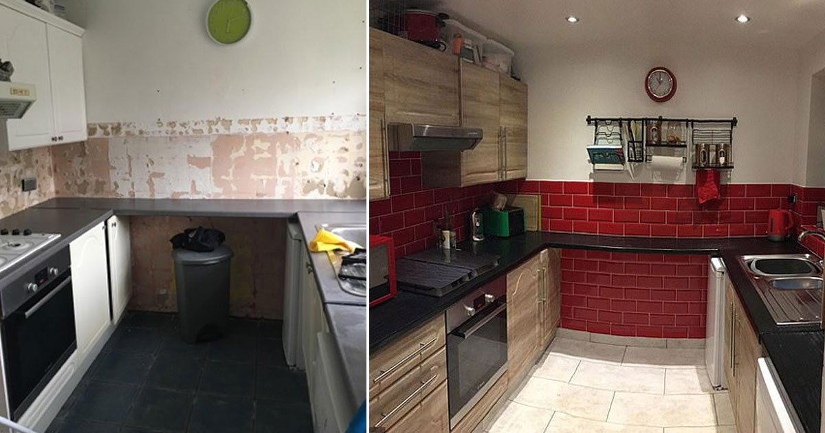 kitchen transformation couple.jpg?resize=300,169 - Couple Transformed Their Kitchen For Only £500 Using Creative Hacks
