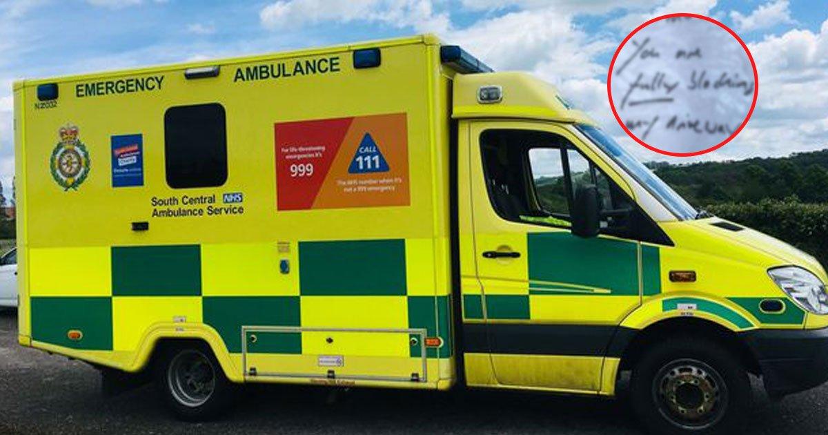 rude note for ambulance.jpg?resize=412,232 - Homeowner Slammed For Leaving A Rude Note For Ambulance Service Crew Members