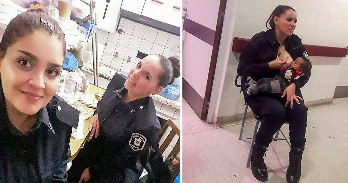 """1 65.jpg?resize=412,232 - Esta Honorable Policia Argentina Alimenta A Bebé Desnutrido Porque El Personal Del Hospital Estaba """"Muy Ocupado"""" Para Cuidarlo"""