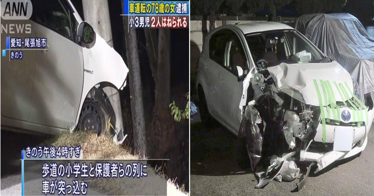 a 108.jpg?resize=1200,630 - 【高齢者運転】対向車線越え歩道に…9歳男児2人が、78歳女運転の車にはねられ重傷!!