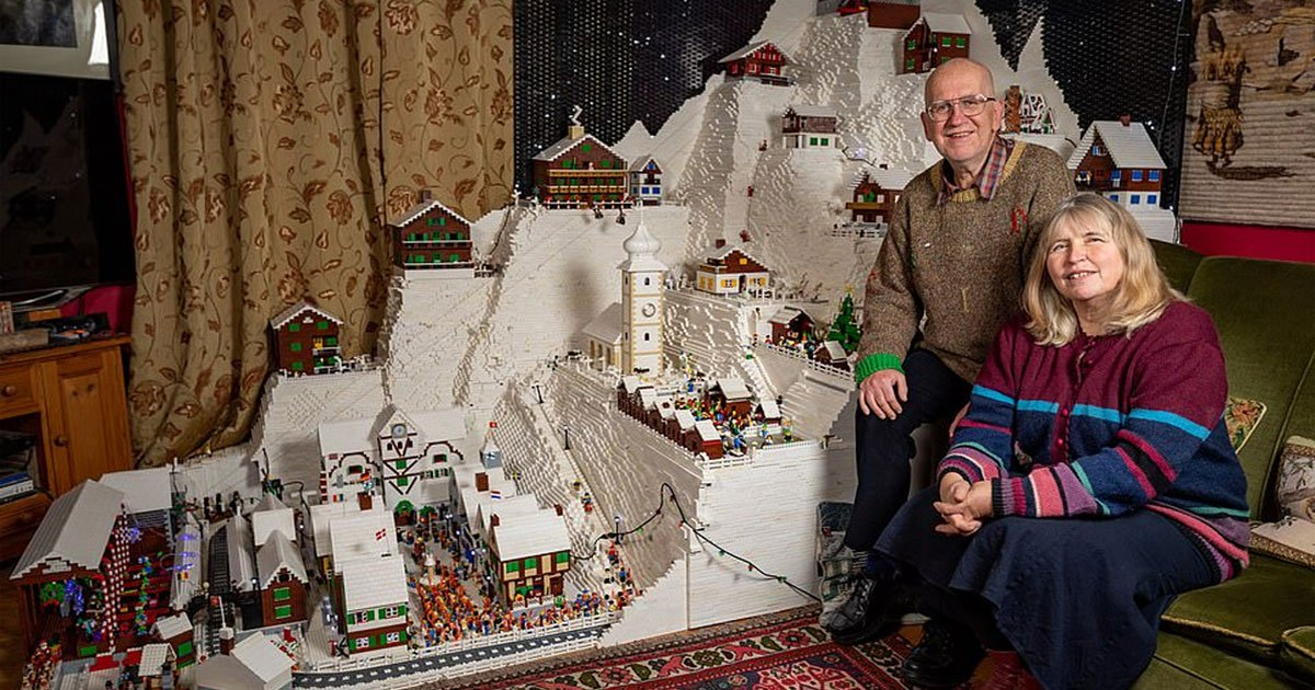 a lego obsessed couple built eight foot alpine ski scene in their living room with 400000 bricks.jpg?resize=1200,630 - A Lego-Obsessed Couple Built Eight-Foot Alpine Ski Scene In Their Living Room With 400,000 Bricks