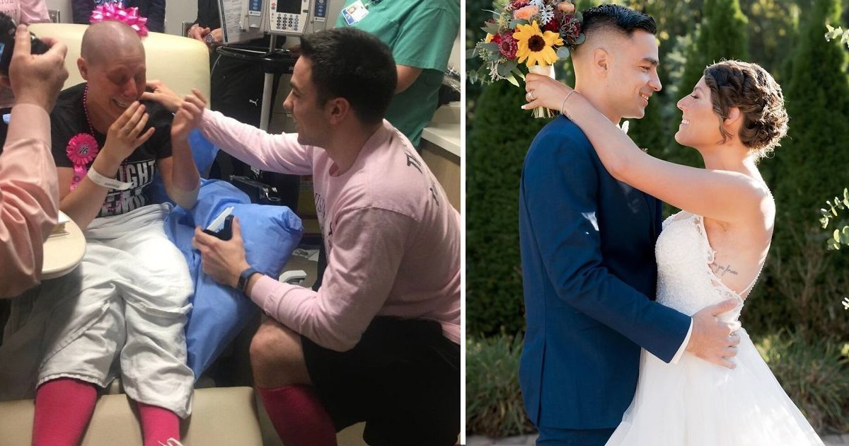 fasfsafasf.jpg?resize=1200,630 - Loyal Boyfriend Who Stuck With Girlfriend during Breast Cancer Proposes on Her Last Day of Chemo