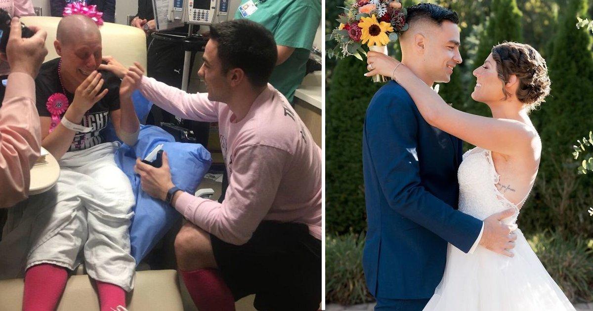 fasfsafasf.jpg?resize=412,232 - Son petit ami lui demande sa main le dernier jour de son traitement contre le cancer du sein