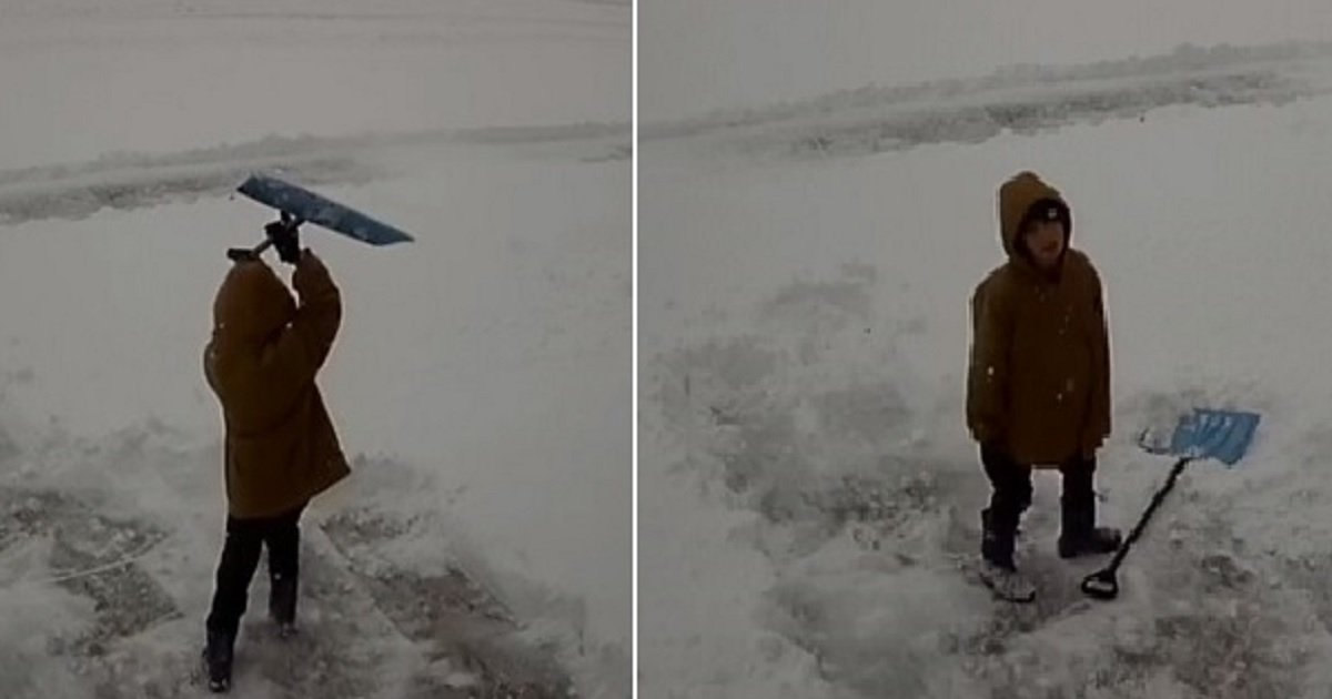 s3.jpg?resize=1200,630 - A Boy Threw A Hilarious Mini-Tantrum After Volunteering To Shovel Snow