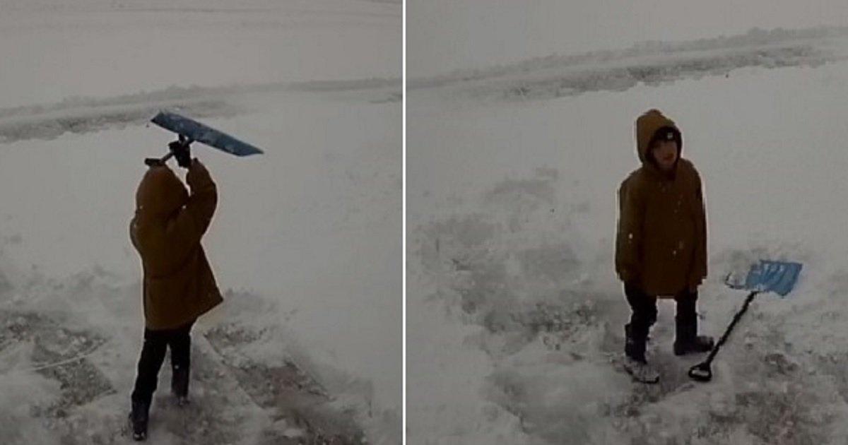s3.jpg?resize=412,232 - A Boy Threw A Hilarious Mini-Tantrum After Volunteering To Shovel Snow