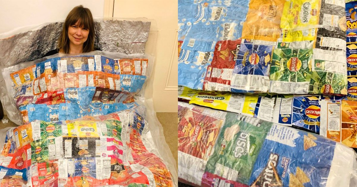 this woman makes sleeping bags for the homeless people out of the crisp packets.jpg?resize=412,232 - A Woman Turned Crisp Packets Into Sleeping Bags For The Homeless