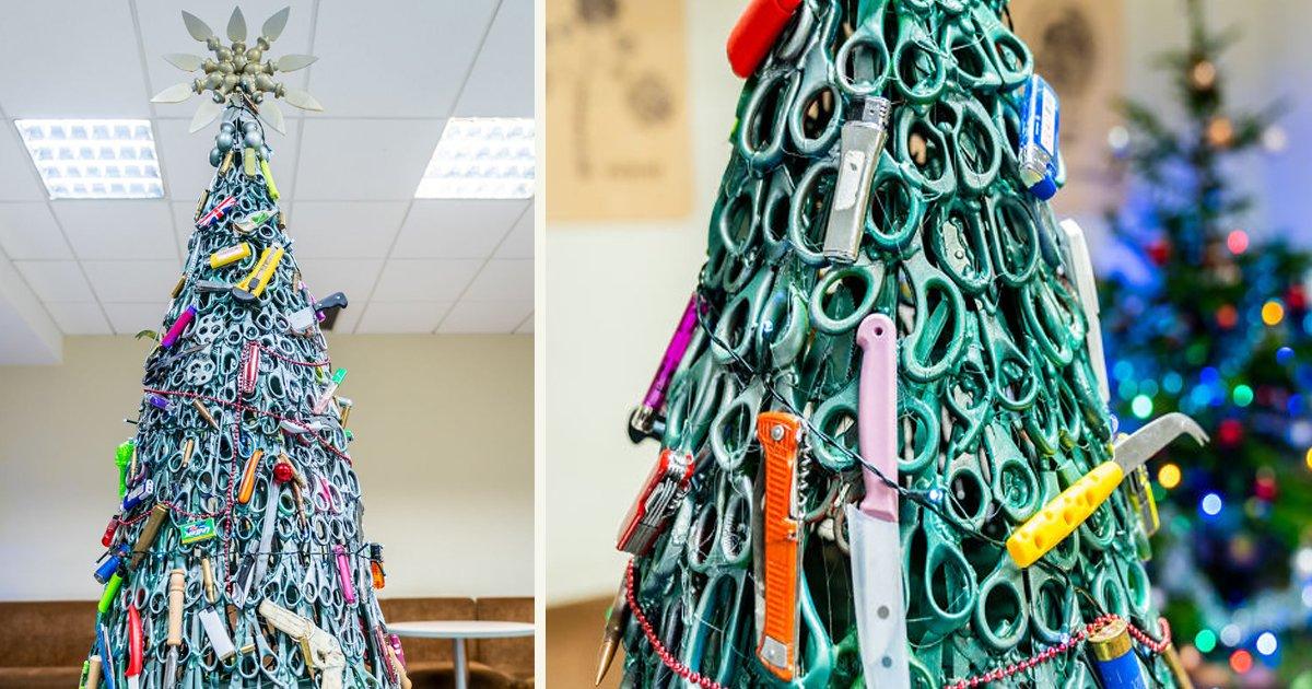 untitled 1 49.jpg?resize=300,169 - Un aéroport a installé un sapin de Noël composé d'articles interdits pour sensibiliser à la sécurité aérienne