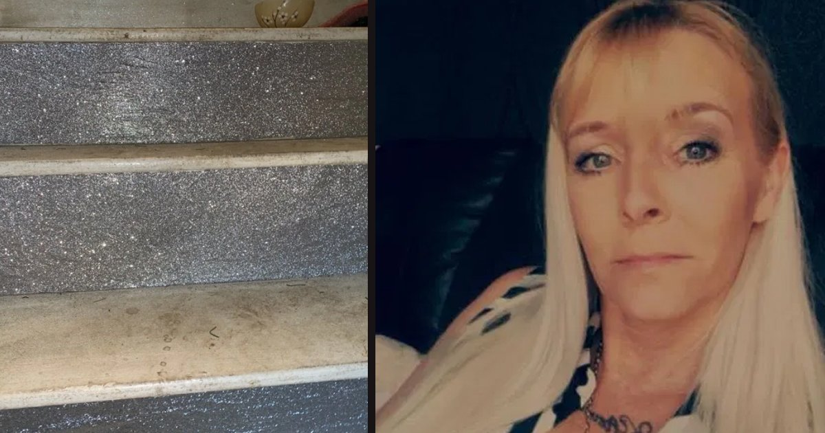 untitled 4 1.jpg?resize=412,232 - Mom Created Stunning, Glittery Staircase By Using Wrapping Paper