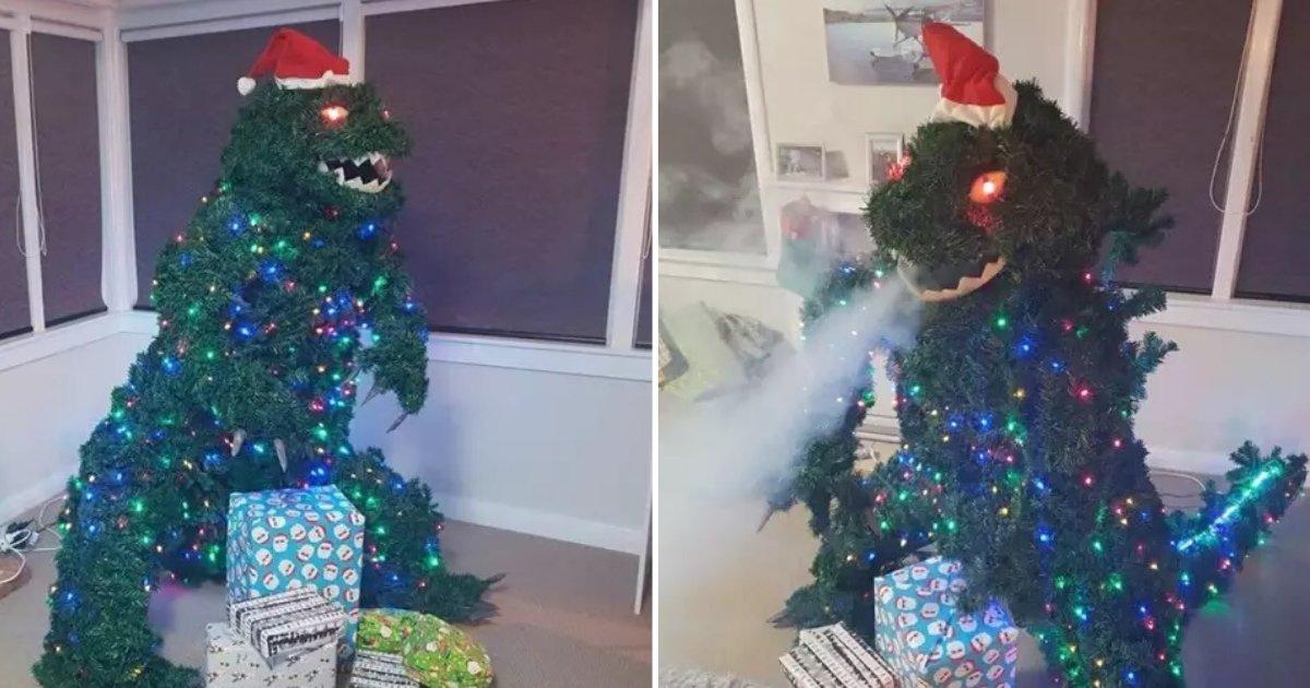 untitled design 12 1.png?resize=1200,630 - Découvrez le sapin de Noël Godzilla qui crache de la fumée