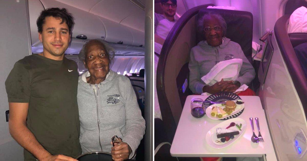 untitled design 29 1.png?resize=412,232 - Un homme a donné son siège de première classe à une grand-mère de 88 ans et a réalisé son rêve