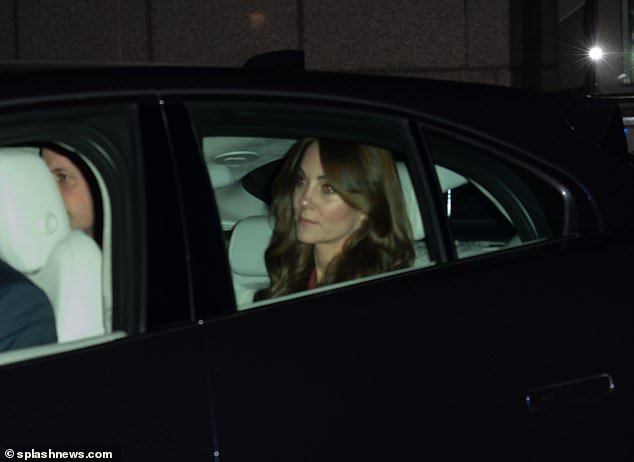The Duchess of Cambridge was photographed in a chauffeur-driver ca as she arrived at Buckingham Palace today, in what marked her husband