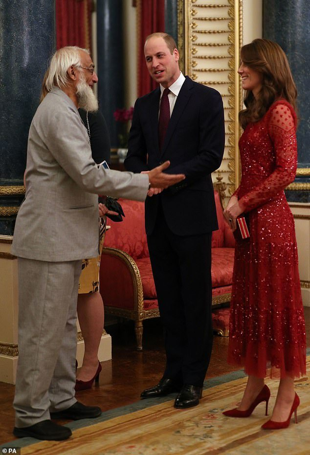The Duke and Duchess of Cambridge welcomed a guest to a reception at London