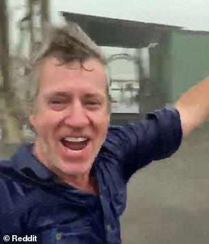The man filmed himself as the rain fell on his farm